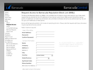 Barracudacentral.org - technical insight for security pros org has address