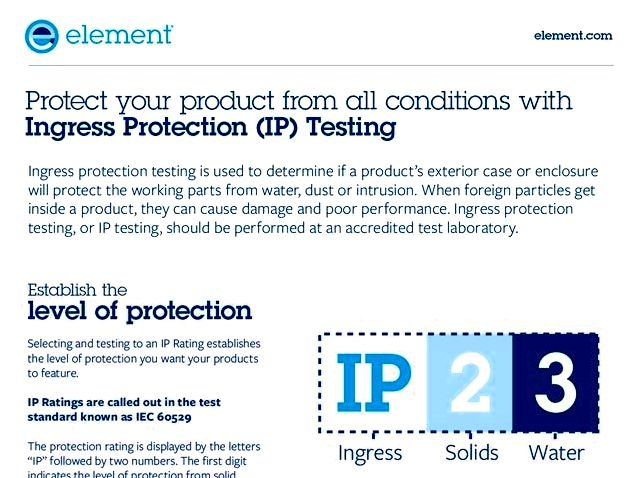 Ingress protection (ip) testing - iec 60529 testing Both UL testing